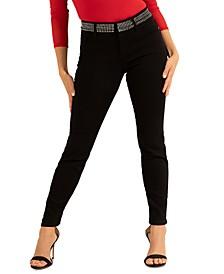 Studded-Waistband Skinny Jeans
