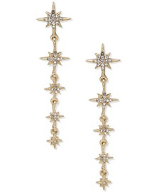 Gold-Tone Pavé Star Linear Drop Earrings