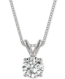 Moissanite Solitaire Pendant 1/2 ct. t.w. - 3 1/10 ct t.w. Diamond Equivalent in 14k White or Yellow Gold