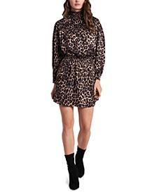 Animal-Print Luxe Smocked Mock-Neck Dress