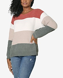 Juniors' Colorblocked Chenille Sweater