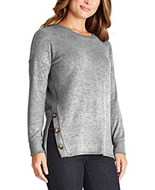 Juniors' Button-Trimmed Tunic Sweater