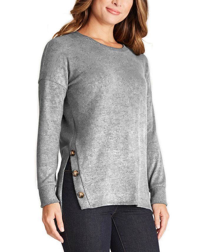 BCX - Juniors' Button-Trimmed Tunic Sweater