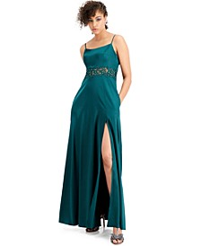 Juniors' Embellished-Waist Stretch Satin Gown