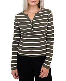 Junior's Striped Henley Top