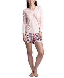 Top, Pants & Boxer Shorts 3pc Pajama Gift Set