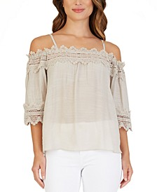Juniors' Crochet-Trimmed Off-The-Shoulder Top