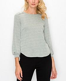 Women's Jacquard Knit Button Shoulder Top
