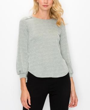 1804 Women's Jacquard Knit Button Shoulder Top