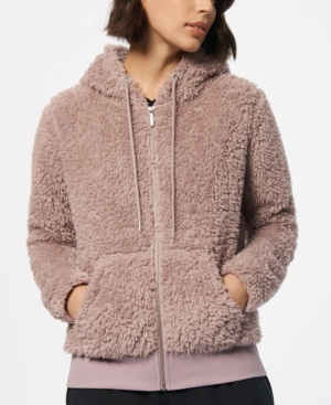 Marc New York PERFORMANCE WOMEN'S ULTRA SOFT FAUX FUR HOODED ZIP UP