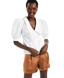 INC Cotton Oversized-Collar Blouse, Created for Macy's