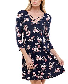 Juniors' Floral-Print Caged-Neck Dress