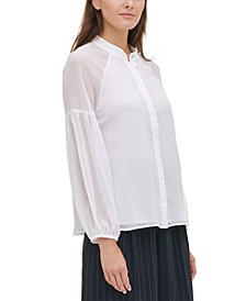 Textured Drop-Shoulder Blouse