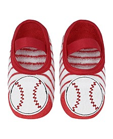 Baby Boys and Girls Anti-Slip Socks with Baseball Applique