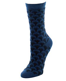 Women's Fretwork Cashmere Blend Crew Socks