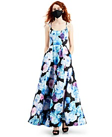 RTV- Juniors' Floral-Print Ball Gown with Pockets