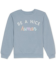 Juniors' Be A Nice Human Graphic Sweatshirt