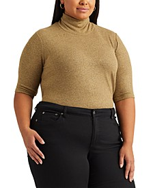 Plus-Size Metallic Turtleneck