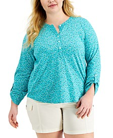 Plus Size Cotton Printed Top, Created for Macy's