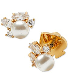 Gold-Tone Crystal & Imitation Pearl Cluster Stud Earrings