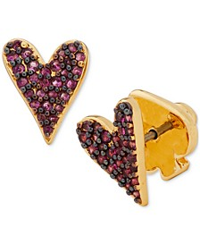 Gold-Tone Colored Pavé Heart Stud Earrings