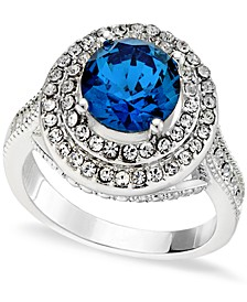Pavé Stone Halo Ring in Fine Silver Plate, Created for Macy's