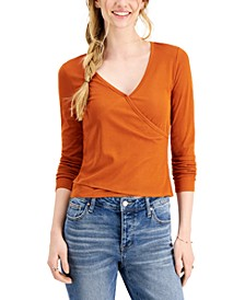 Juniors' Rib-Knit Surplice Top