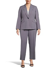 Plus Size Pinstriped Pant Suit