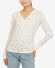 Juniors' V-Neck Long-Sleeve Henley Top