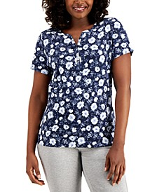 Natalie Garden Printed Henley Top, Created for Macy's