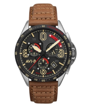 Men's P-51 Mustang Blakeslee Chronograph Bronze Oak Brown Genuine Leather Strap Watch