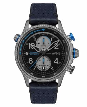 Men's Hawker Hunter Duke Chronograph Colerne Blue Genuine Leather Strap Watch