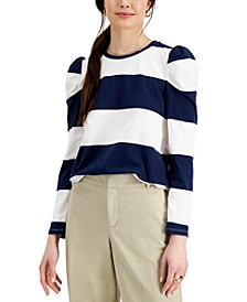 Striped Puff-Sleeve Top, Created for Macy's