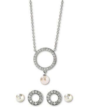 3-Pc. Cubic Zirconia Circle & Genuine Pearl (4-5mm) Pendant Necklace & Earrings Set