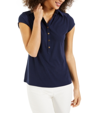 Charter Club Knits KNIT CREPE POLO SHIRT, CREATED FOR MACY'S