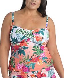 Plus Size Tropicalia Twisted Bandeau Tankini Top