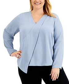 Plus Size Drape-Front Top, Created for Macy's