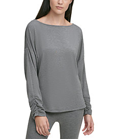 DKNY Boat-Neck Ruched-Cuff Top