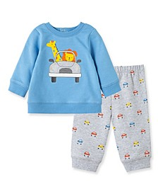 Baby Boys Car Sweatshirt Set
