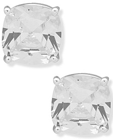Silver-Tone Crystal Cushion Button Earrings