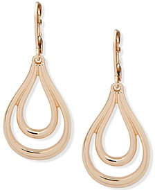 Gold-Tone Link Open Drop Earrings