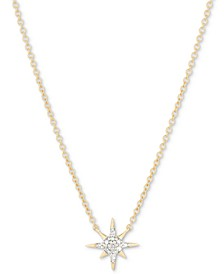 """Diamond Star Pendant Necklace (1/20 ct. t.w.) in 18k Gold-Plated Sterling Silver, 15"""" + 1"""" extender"""
