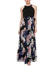 Halter-Top Printed-Skirt Maxi Dress