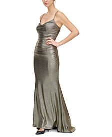 Draped-Neck Ruched Gown