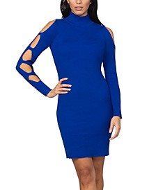 Juniors' Caged-Sleeve Ribbed Sweater Dress