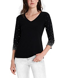 Beaded-Sleeve Top