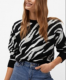 Women's Zebra Printed Sweater
