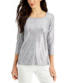 Metallic Square-Neck Top, Created for Macy's