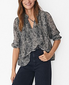 Women's Printed Pleated Blouse