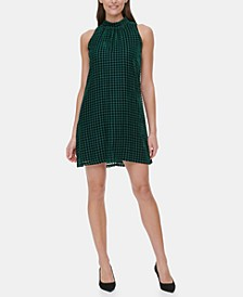 Velvet Houndstooth A-Line Dress